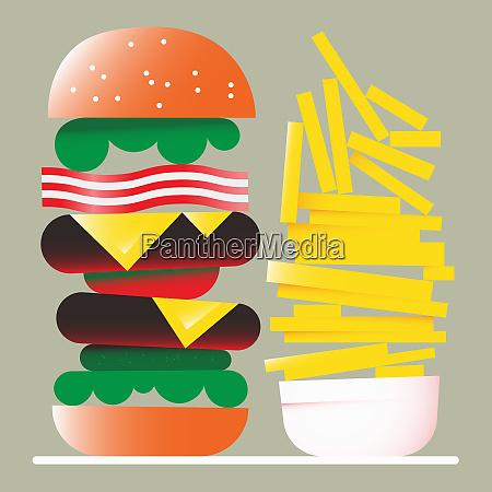 tall hamburger and large pile of