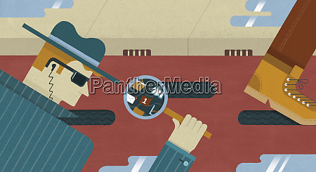spy looking through magnifying glass at
