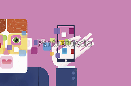 mobile apps on smart phone connecting