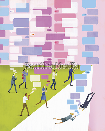 business people obsessed with texting on