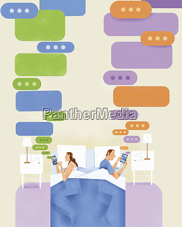 couple lying in bed texting on