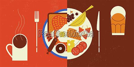 contrast between healthy or unhealthy food