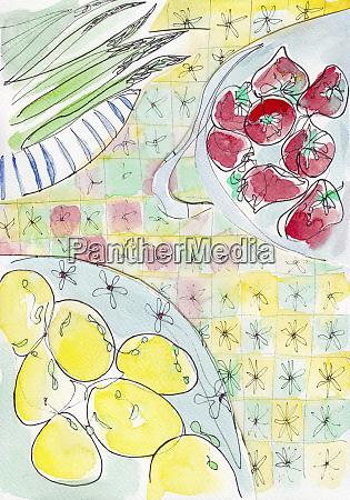 fresh lemons tomatoes and asparagus