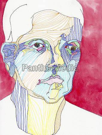 multicolored line drawing portrait of serious