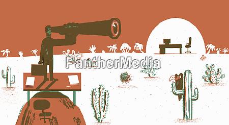 businessman looking through telescope in desert