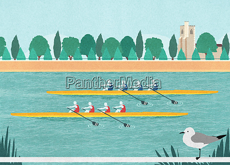 rowers in rowing boat race on