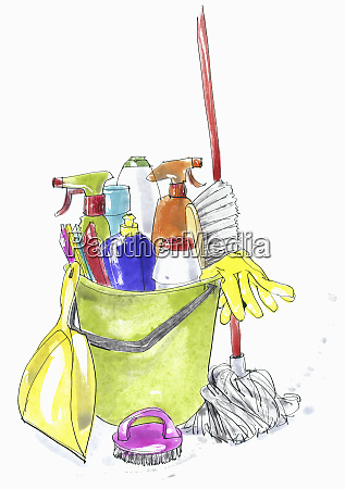 cleaning products and equipment in plastic