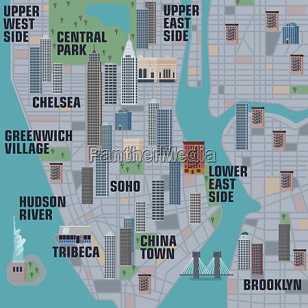 illustrated map of manhattan new york