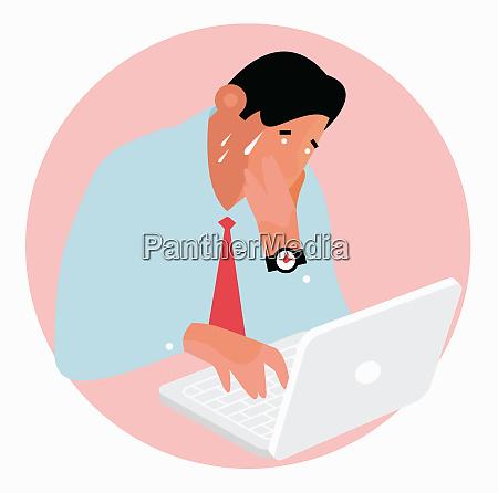 worried man sweating working on laptop