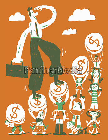happy businessman climbing dollar coin staircase