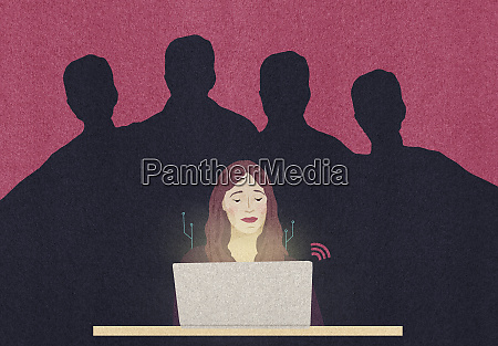 sinister male shadows behind woman using