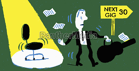 businessman as if musician in gig