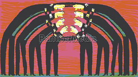 businessmen in group huddle