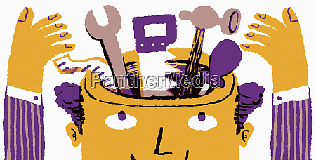 businessman with toolkit inside of head
