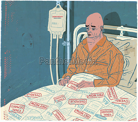cancer patient in hospital bed with