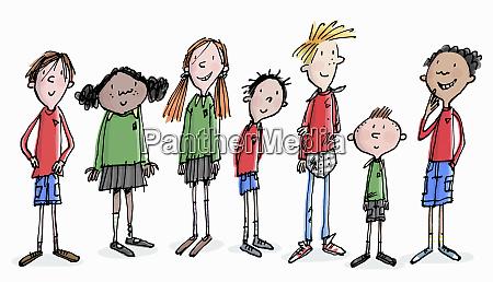 row of happy school children