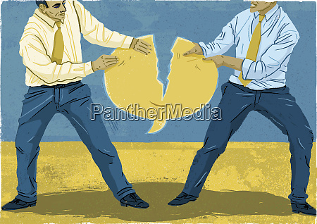 two businessmen fighting over speech bubble