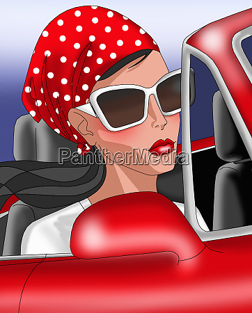 glamorous woman with sunglasses in red