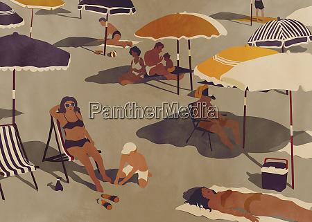 people sunbathing on quiet beach