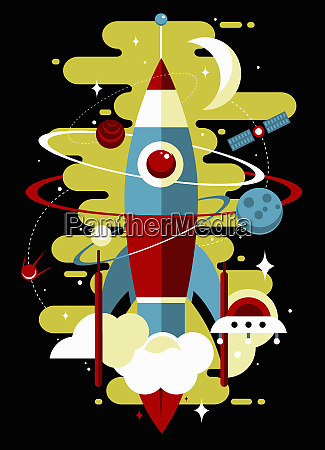 retro rocket exploring outer space with