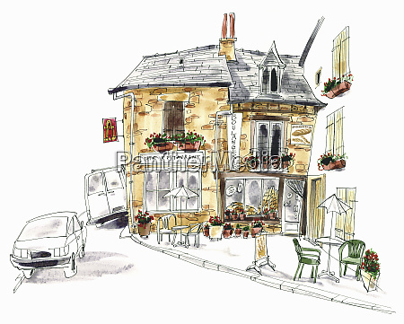 pavement cafe and boulangerie france