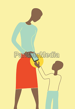 mother giving young son smart phone