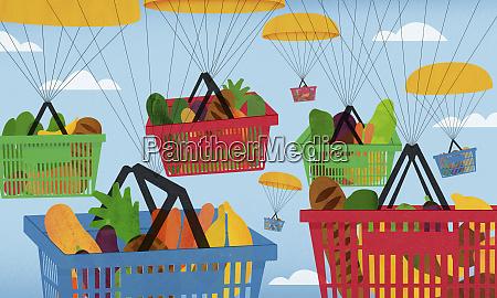 parachutes carrying lots of shopping baskets