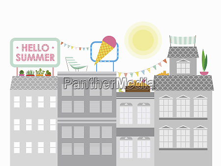 colorful summer activities on the roof
