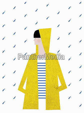 girl wearing yellow raincoat with hood