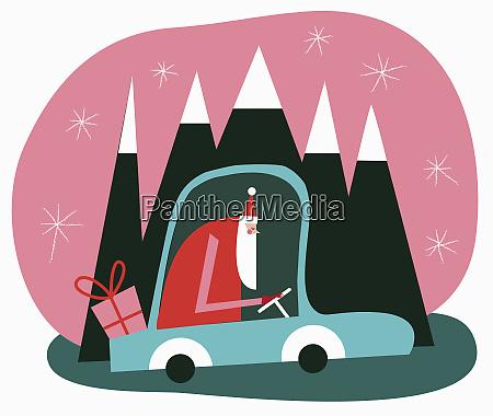 father christmas driving car through mountain
