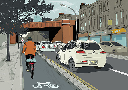 cyclists riding in cycle lane on