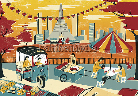 illustration of city life by chao