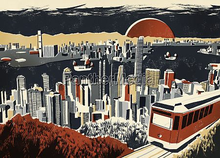illustration of victoria harbour and skyscrapers