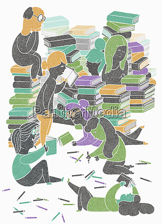 lots of people enjoying reading and