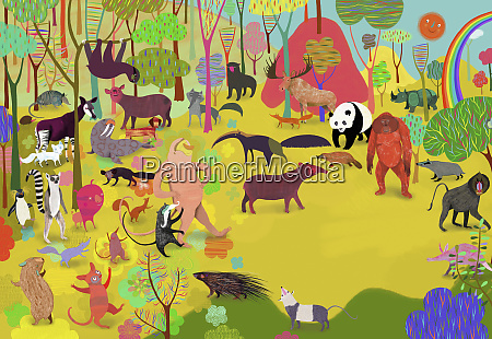 lots of different animals in colorful