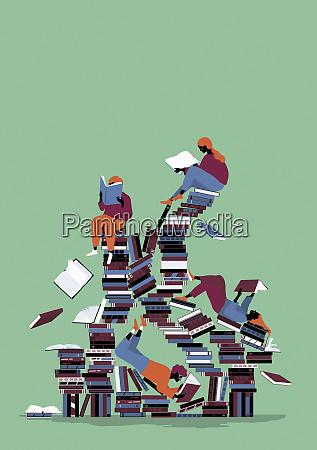 children enjoying reading on chaotic pile