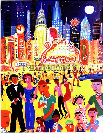 busy nightlife in new york city