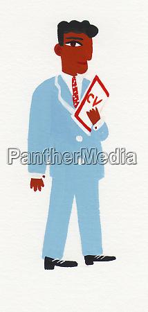 businessman holding cv