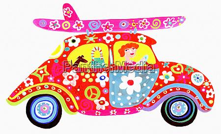 woman driving hippy flower power car