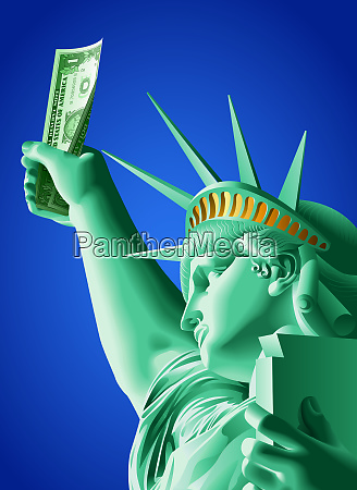 statue of liberty holding one dollar