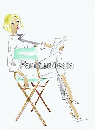 elegant woman reading script in directors