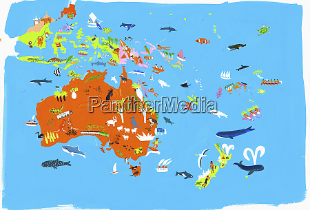 illustrated map of australasian and indonesian