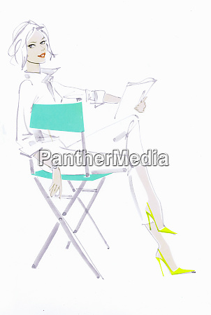elegant woman reading script in directors