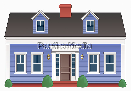blue two storey detached house
