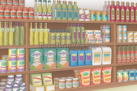 groceries on shop shelves