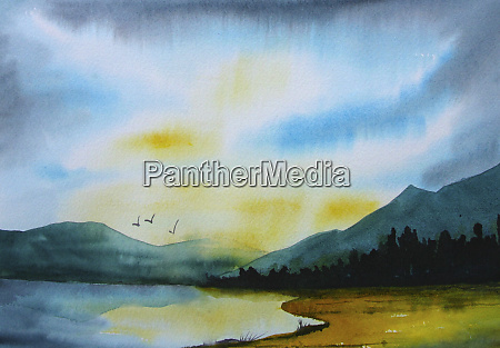 watercolour painting of birds flying over