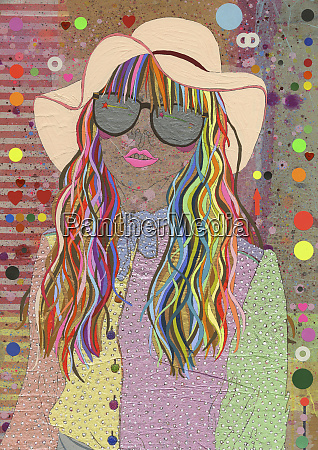 young woman with multicolored hair wearing