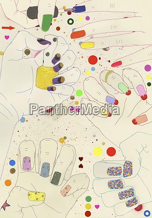 womens fingernails with various nail polish