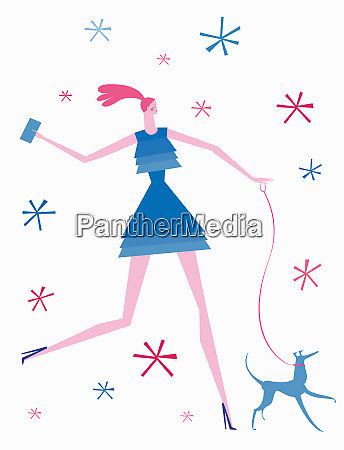 stylish young woman taking dog for