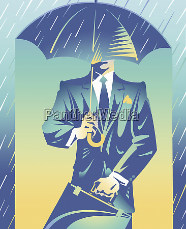 smart businessman sheltered from rain under